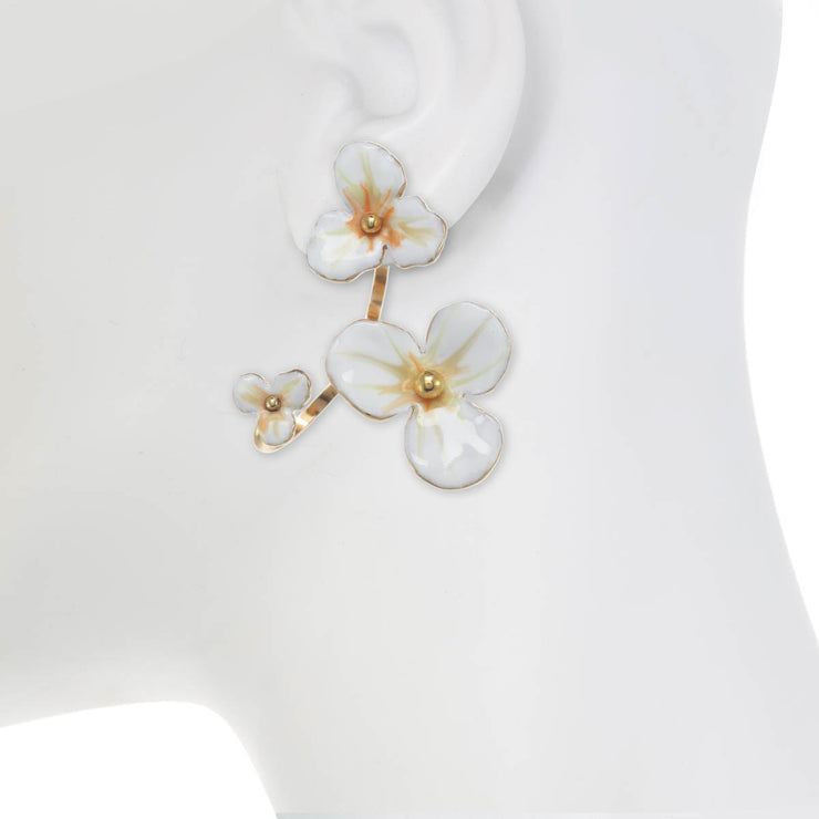 Floating Flower Open Hoop Earring