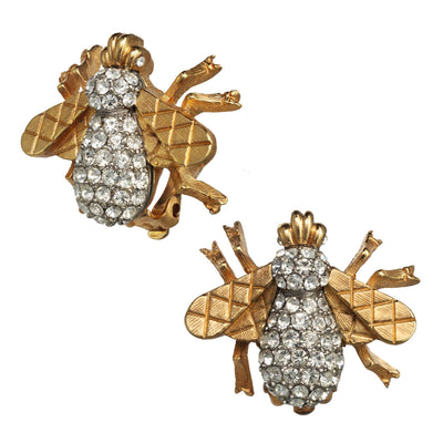 Crystal Bee Button Earring
