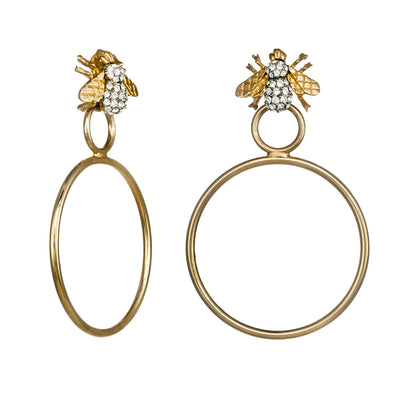 Crystal Bee Hoop Earrings