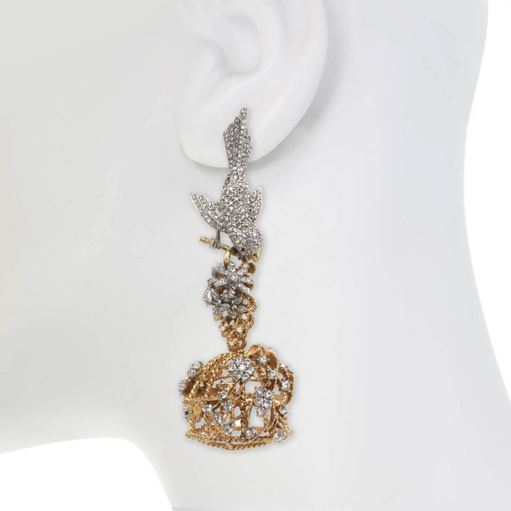 Ines x CINER Flocking Bird Cage Earrings