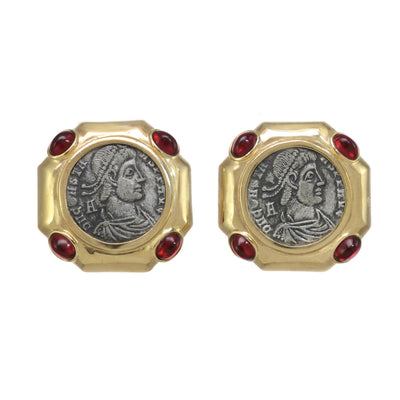 Square Roman Coin Earrings