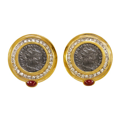 Roman Coin Button Earrings