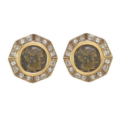 Small Crystal Roman Coin Earring