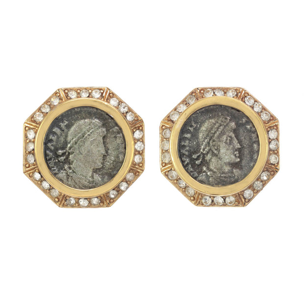 Medium Crystal Roman Coin Earring
