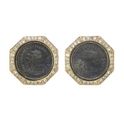 Large Crystal Roman Coin Earrings