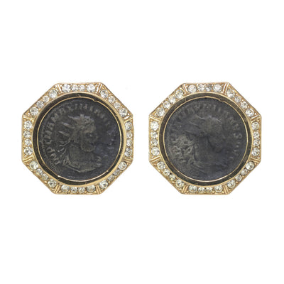 Large Crystal Roman Coin Earring