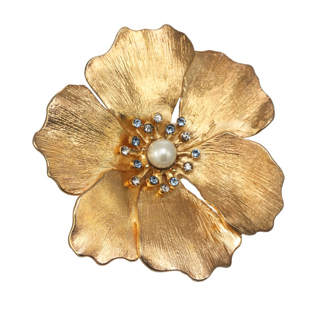 Golden Brushed Flower Pin