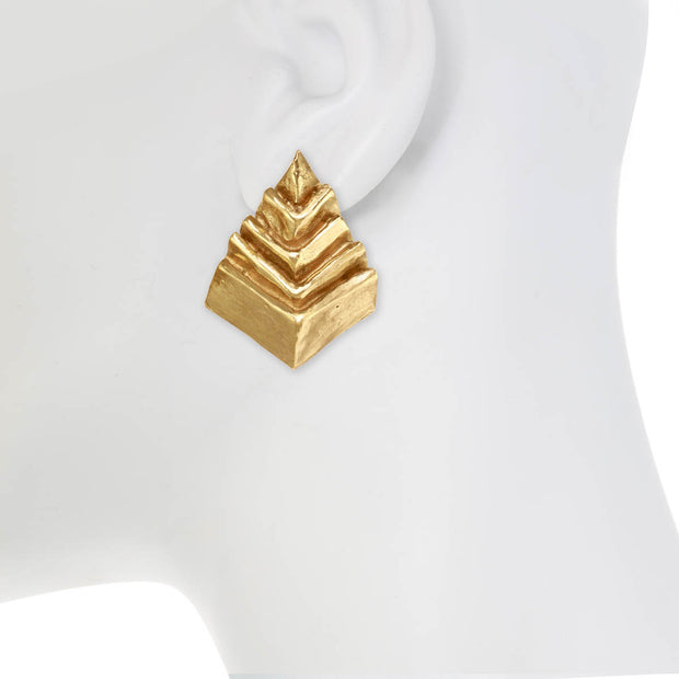 Natural Abstract Pyramid Earring