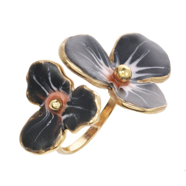 Midnight Double Flower Ring