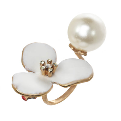Flower and Pearl Ring