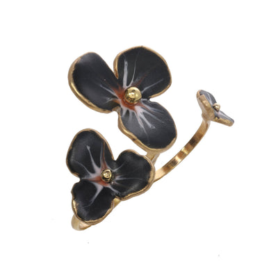 Midnight Floating Flower Ring