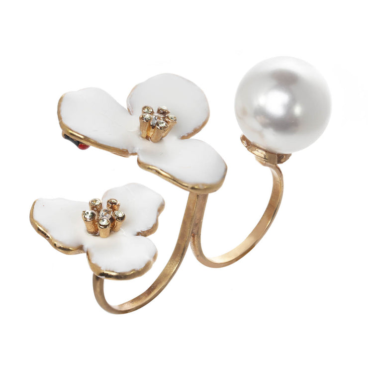 Floating Flowers and Pearl Ring