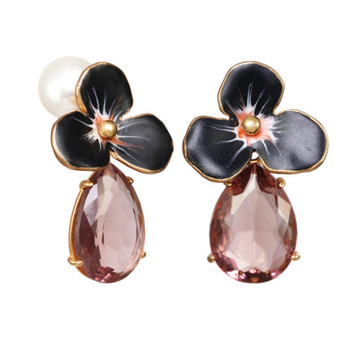 Midnight Medium Rhinestone Drop Earrings