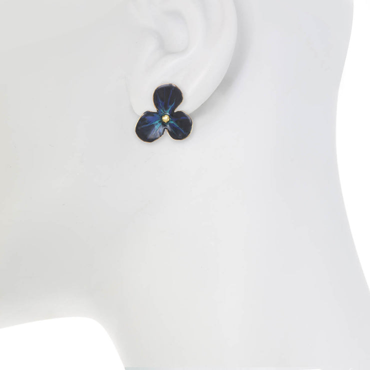 Midnight Large Flower Earrings