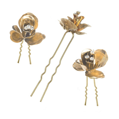 Three Piece Sculpted Floral Hair Pin Set