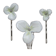 Three Piece Floral Hair Set with Comb and Bobby Pin