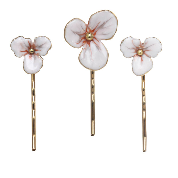 Three Piece Floral Hair Set with Large and Small Bobby Pins