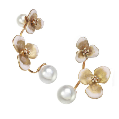 Floating Flower and Pearl Open Hoop Earrings