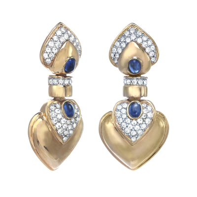 Golden Queen of Spades Clip Earrings