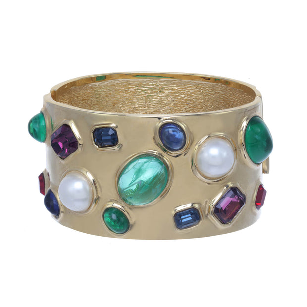 Golden Gemstone Encrusted Statement Cuff