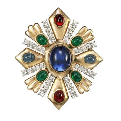 Two-Tone Gemstone Encrusted Shield Pin Pendant