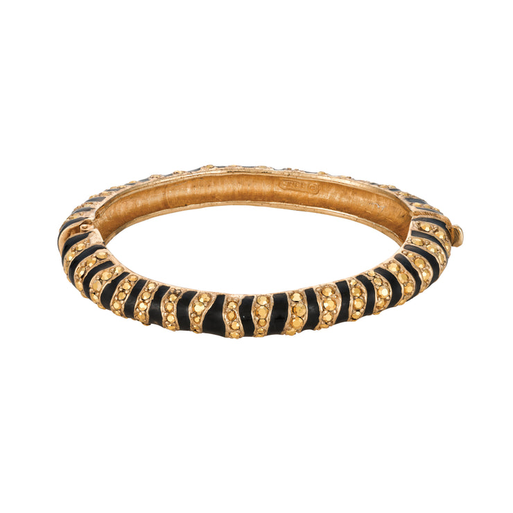 Black Enamel and Aurum Rhinestone Zebra Print Bracelet