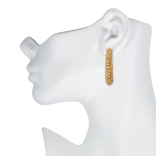 Aurum Rhinestone Forward Facing Hoop Earrings