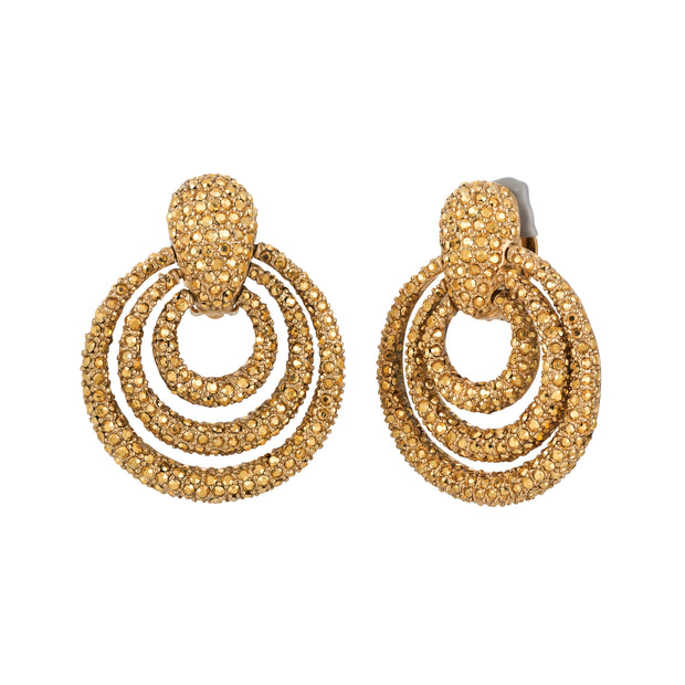 Aurum Triple Ring Door Knocker Earrings