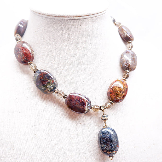 Vintage Pietersite and Smokey Quartz Semi-Precious Bracelet and Necklace Set