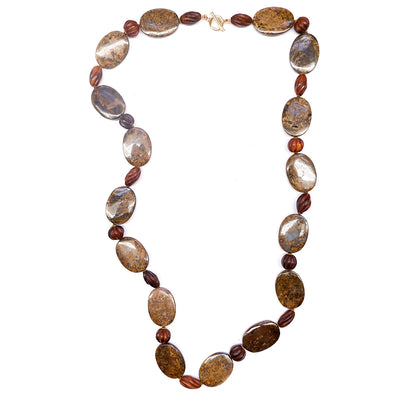 Vintage Bronzite and Wood Necklace
