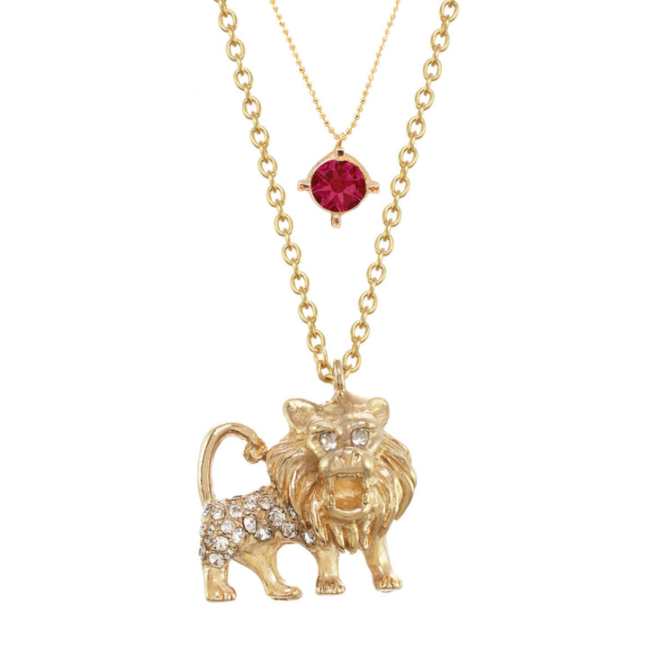 Leo Birthstone Charm Necklace