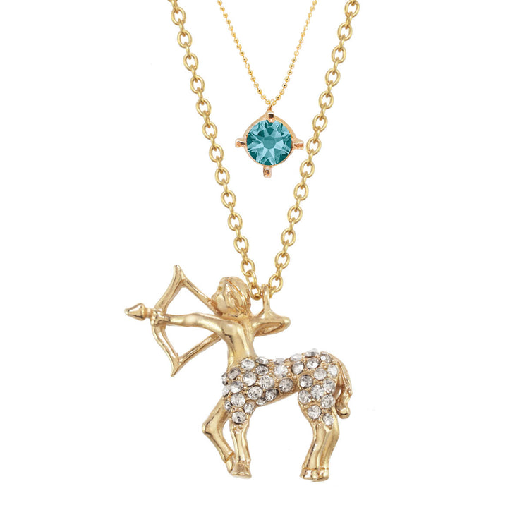 Sagittarius Birthstone Charm Necklace