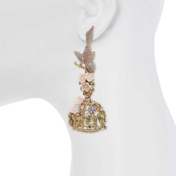 Flocking Bird Cage Earring