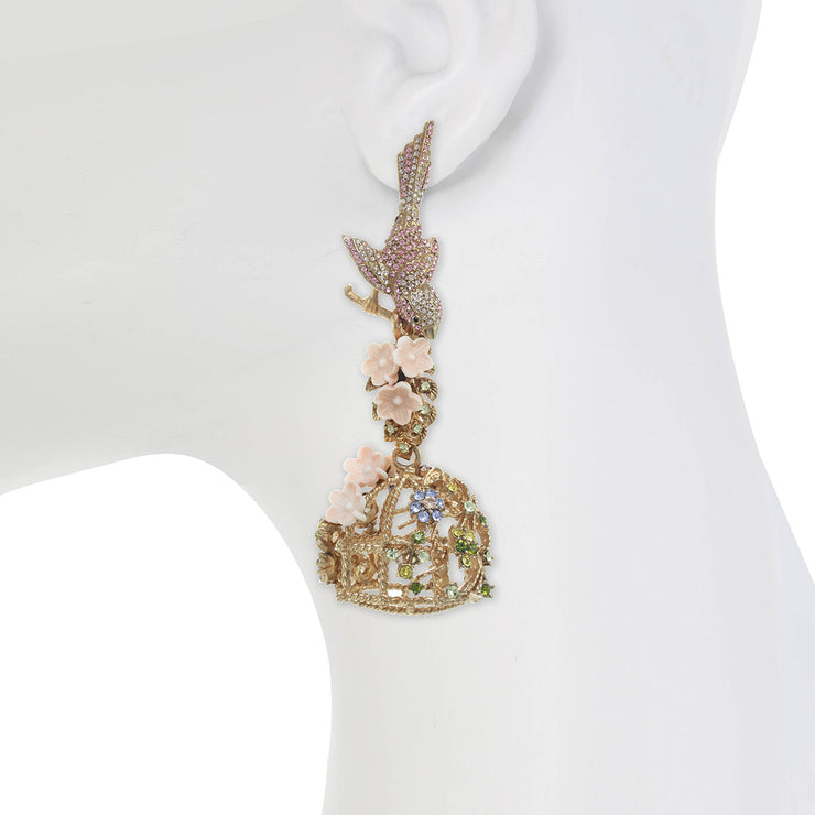 Flocking Bird Cage Earrings