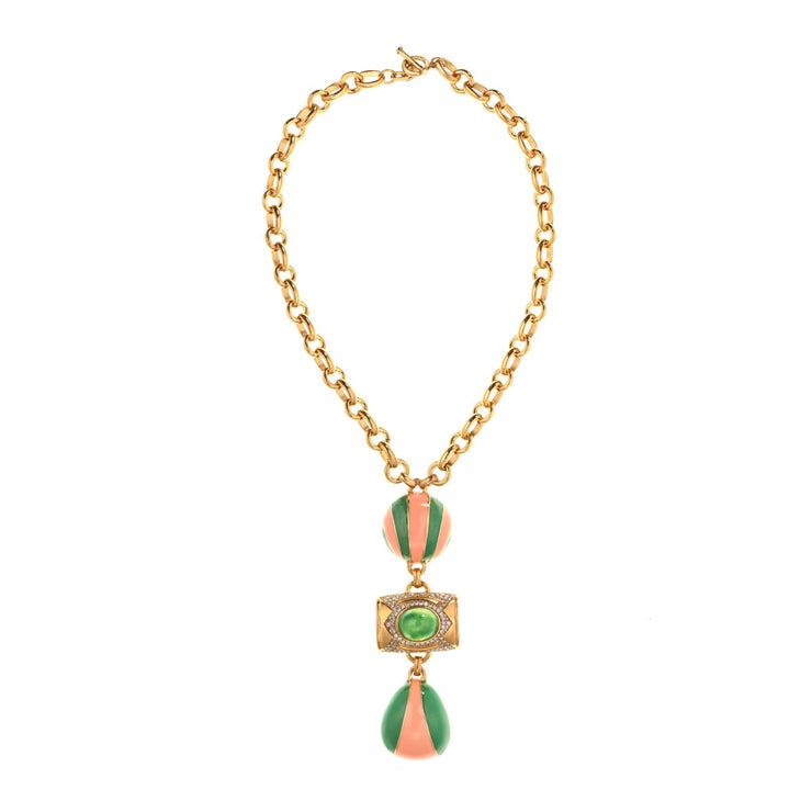 Coral and Jade Geometric Necklace