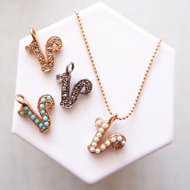 """V"" Alphabet Charm Necklace"