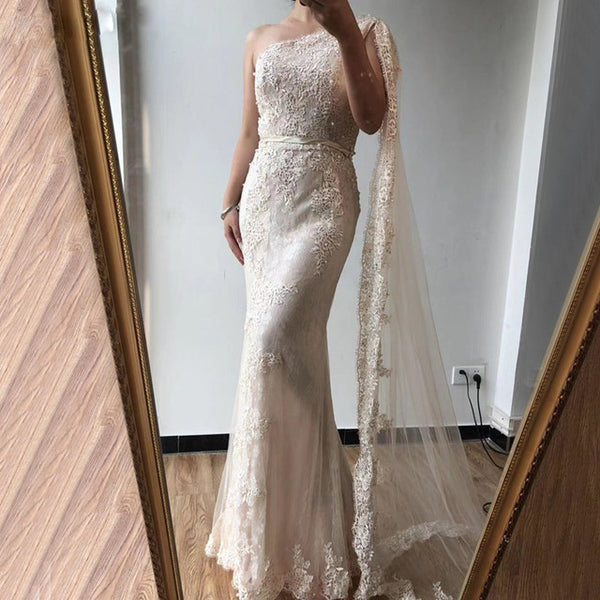 Off Shoulder Mermaid Sexy Evening Dressese Long Trumpet Sleeves Simple Evening Gowns 2020