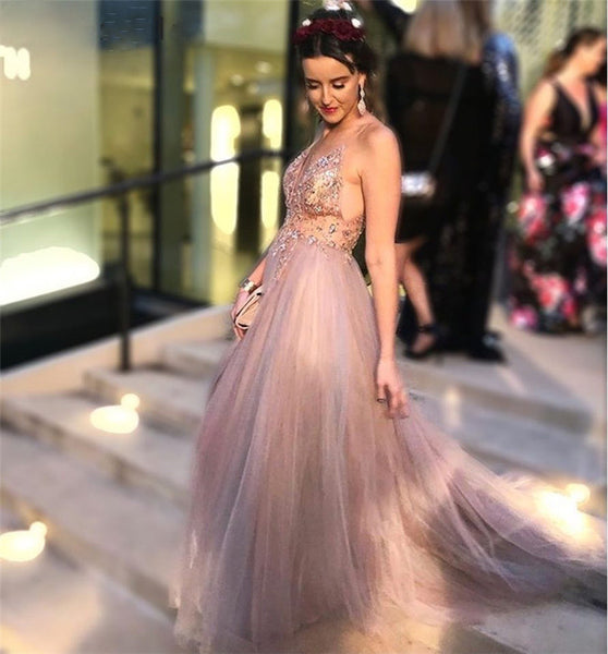 Cinderella Champagne V-Neck Sleeveless Crystal Beading Soft Tulle Evening Dresses Prom Party Gowns Evening Dress