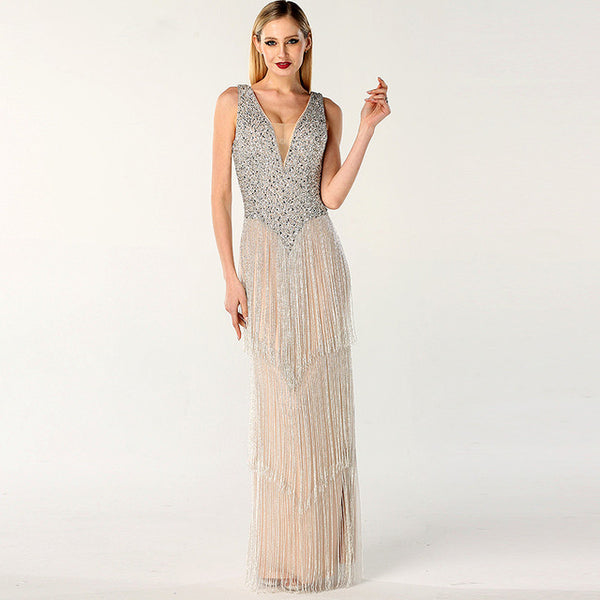 Dubai Design Silver Sexy Deep-V Evening Dress Sequined Beading Tassel Luxury Evening Gowns 2020