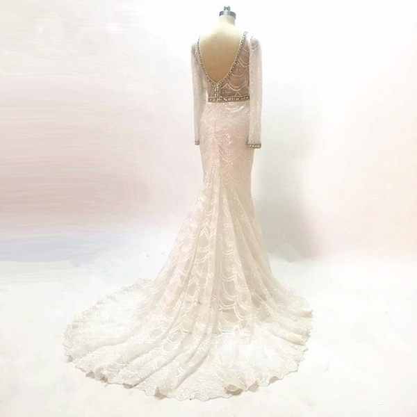 White Bridal Gowns Deep V-Neck Custom Lace Mermaid Wedding Dresses 2020 Long Sleeves Wedding gown High-quality Embroidery Beaded