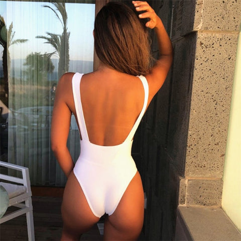 ae3cbe0366d Size: S,M,L Color: white,red,black, Style: solid,backless,sexy,high cut.  Include: women swimsuit. Type: bathing suit women