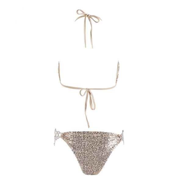 Sexy V-neck diamond halter Metal chain sequin bikini