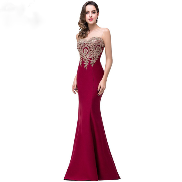 Sexy Backless Appliques  Mermaid Lace Long Prom Dress