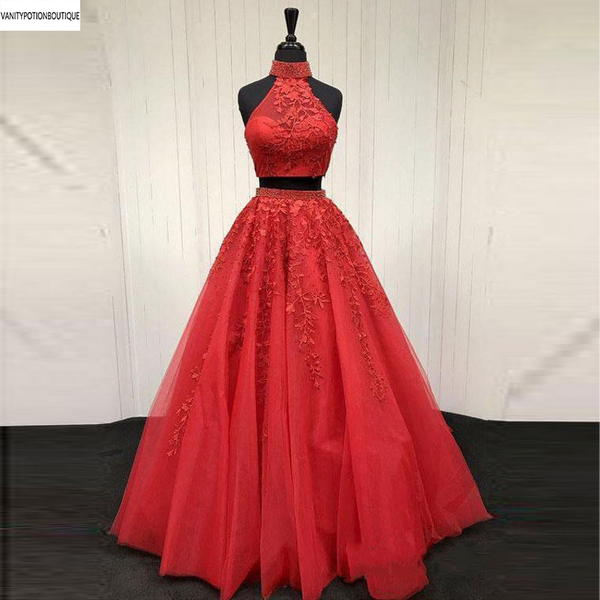 100% Real Photo Lace Appliqued Two Piece Prom Dresses Long Cheap Halter Ball Gowns Formal Party Dress 2019 vestido largo fiesta