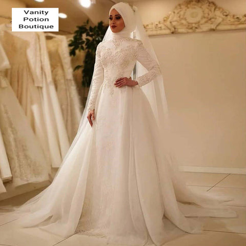 VESTIDO DE NOIVA ELEGANT LONG SLEEVE O NECK TULLE LACE ISLAMIC WEDDING GOWN