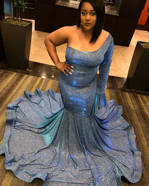 Long Glittery Plus Size Prom Dresses 2020 Mermaid Single Long Sleeve African Black Girl Light Blue Women Prom Gowns