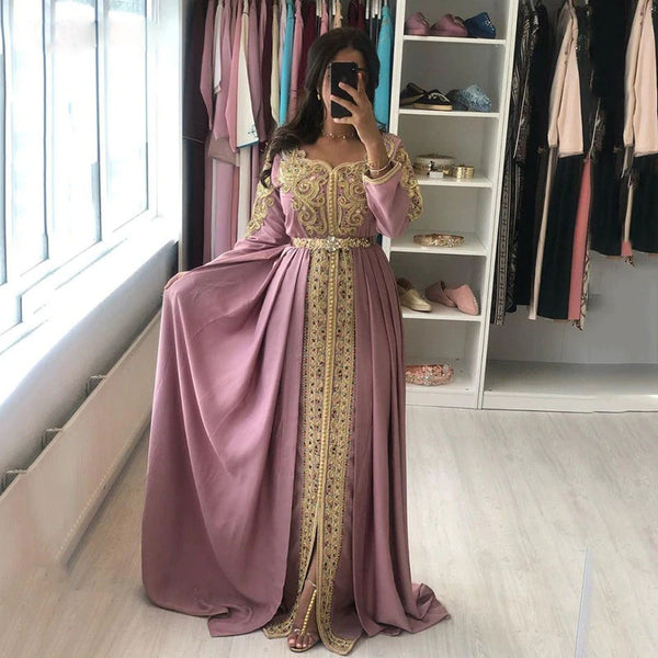 MOROCCAN KAFTAN GOLD LACE APPLIQUES EVENING DRESS