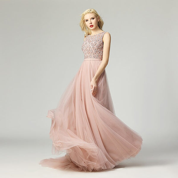 Elegant Bling Bling Evening Dress Long Beaded Sequined O-neck Tulle Backless Zipper With Train Prom Party Gown