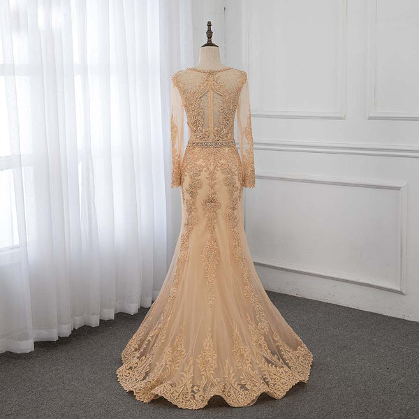 Gold Lace Full Sleeve Evening Gown Dresses Long Formal Appliques Crystals