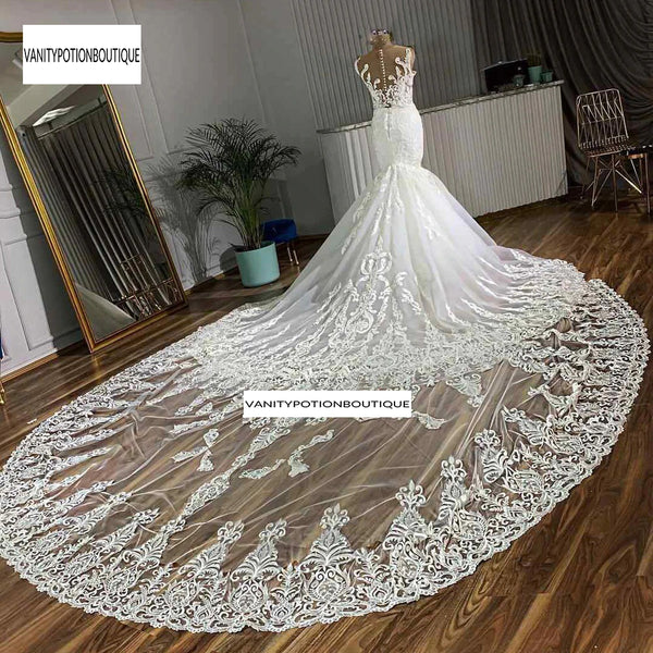 Skin Nude Tulle Of 2020 Mermaid Wedding Dress With Gorgeous Lace Skirt Royal Train Bride Dress